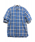 KRIS VAN ASSCHE(クリスヴァンアッシュ)の古着「フェイクレイヤードハーフスリーブシャツ」|ブルー