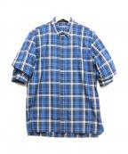 KRIS VAN ASSCHE(クリス ヴァン アッシュ)の古着「フェイクレイヤードハーフスリーブシャツ」 ブルー