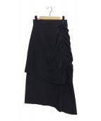 ELIN(エリン)の古着「ジョーゼットドローストリングスカート」 ブラック