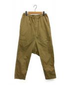 GROUND Y(グラウンドワイ)の古着「Twill Sarouel Straight Pants」|ブラウン