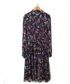 MAX&Co.(マックスアンドコー)の古着「スキッパー花柄ワンピース」|ネイビー