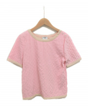 CHANEL(シャネル)の古着「マトラッセステッチショートスリーブブラウス」|ピンク