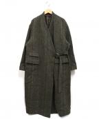 JANE SMITH(ジェーンスミス)の古着「ノーカラーチェスターフィールドコート」|ブラウン