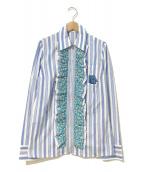 PRADA(プラダ)の古着「ストライプフリルジップアップシャツ」