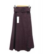 GRACE CONTINENTAL(グレースコンチネンタル)の古着「イレギュラーラップスカート」|レッド