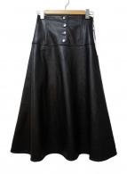 GRACE CONTINENTAL(グレースコンチネンタル)の古着「エコレザーフレアスカート」|ブラック