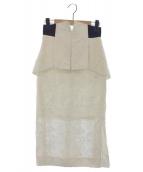 Mame Kurogouchi(マメ クロゴウチ)の古着「フリンジジャガードスカート」|ホワイト