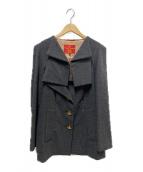 V.W. RED LABEL(ヴィヴィアンウエストウッドレッドレーベル)の古着「ストールカラーデザインコート」|グレー