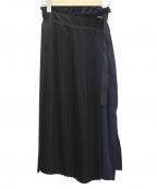 CITY(シティ)の古着「サテンアシメプリーツスカート」 ネイビー