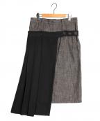 Y's YOHJI YAMAMOTO(ワイズ ヨウジヤマモト)の古着「プリーツドッキングデニムスカート」 ブラック