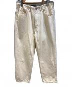 WESTOVERALLS(ウエストオーバーオールズ)の古着「ホワイトデニムパンツ」 アイボリー