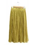 allureville(アルアバイル)の古着「プラチナ割繊サテンギャザースカート」|イエロー