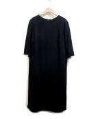 MUSE de Deuxieme Classe(ミューズドゥドゥーズィエム クラス)の古着「トリアセジョーゼット七分袖ワンピース」|ブラック