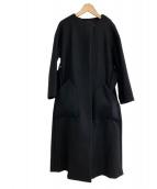VERMEIL par iena(ヴェルメイユ パー イエナ)の古着「Super100sメルトンテントラインコート」|ブラック