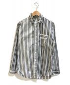 ()の古着「クレイジーパターンストライプシャツ」|グレー×ホワイト