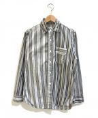 POST O'ALLS(ポストオーバーオールズ)の古着「クレイジーパターンストライプシャツ」|グレー×ホワイト