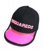 DSQUARED2(ディースクエアード)の古着「PVCキャップ」|ブラック×ピンク