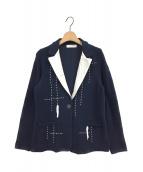 ()の古着「ニットステッチデザインジャケット」 ネイビー