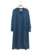 ENFOLD(エンフォルド)の古着「スポンジダブルクロススリットVネックドレス」|ブルー