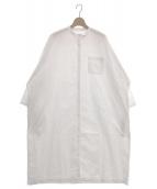 GALLEGO DESPORTES(ギャレゴデスポート)の古着「バンドカラー オーバーサイズ シャツドレス ワンピース」 ホワイト