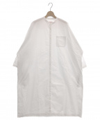 GALLEGO DESPORTES(ギャレゴデスポート)の古着「バンドカラー オーバーサイズ シャツドレス ワンピース」|ホワイト