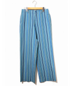 ISSEY MIYAKE FETE(イッセイミヤケ フェット)の古着「マルチストライプワイドパンツ」|ブルー