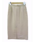 ESTNATION(エストネーション)の古着「ダブルクロスフロントスリットタイトスカート」|ベージュ