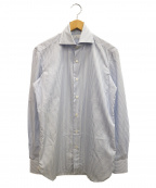 Errico Formicola(エリコフォルミコラ)の古着「ホリゾンタルカラーシャツ」|ブルー×ホワイト