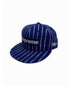 SUPREME×NEWERA(シュプリーム×ニューエラ)の古着「テキストストライプキャップ」|ブルー