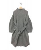 SNIDEL(スナイデル)の古着「ベルティッドラクーンニットワンピ / 長袖ワンピース 」|グレー
