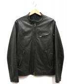 LITHIUM HOMME(リチウム オム)の古着「LEATHER SINGLE RID」|ブラック