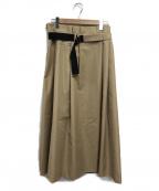 DOUBLE STANDARD CLOTHING(ダブルスタンダードクロージング)の古着「バイカラープリーツスカート」 ベージュ×ブラック