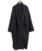 yohji yamamoto+Noir(ヨウジヤマモトプリュスノアール)の古着「ウールギャバジンロングコート」|ブラック