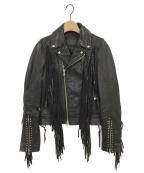 DIESEL Black Gold(ディーゼル ブラック ゴールド)の古着「フリンジレザーライダースジャケット」|ブラック