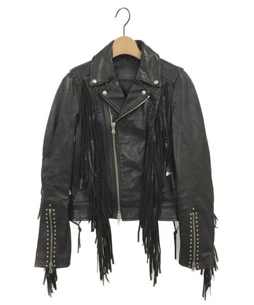DIESEL BLACK GOLD(ディーゼルブラックゴールド)DIESEL BLACK GOLD (ディーゼルブラックゴールド) フリンジレザーライダースジャケット ブラック サイズ:36の古着・服飾アイテム