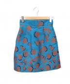 MAX&Co.(マックスアンドコー)の古着「レトロフラワー柄スカート」|ブルー