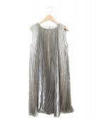 Maglie le cassetto(エムマーリエルカセット)の古着「アコーディオンプリーツドレス」 シルバー