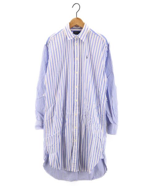 POLO RALPH LAUREN(ポロ・ラルフローレン)POLO RALPH LAUREN (ポロラルフローレン) ストライプシャツワンピース ブルーの古着・服飾アイテム