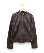COLE HAAN(コールハーン)の古着「シングルライダースジャケット」|ブラウン