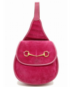 GUCCI(グッチ)の古着「[OLD]ホースビットワンショルダーバッグ」|ピンク