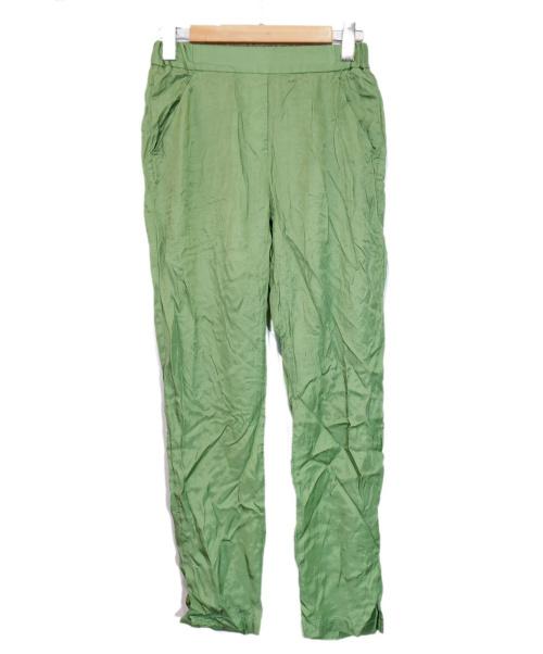 MM6 Maison Margiela(エムエムシックス メゾンマルジェラ)MM6 Maison Margiela (エムエムシックスメゾンマルジェラ) スリットサテンパンツ グリーン サイズ:38の古着・服飾アイテム