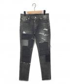 AKM(エーケーエム)の古着「パッチワークデニムパンツ」 ブラック