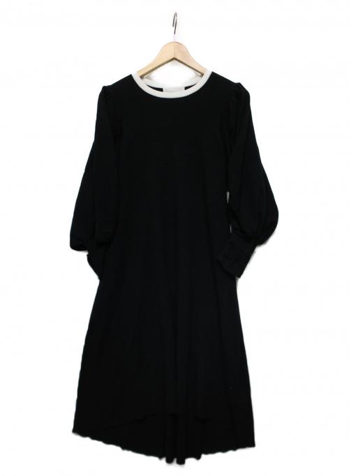 CELFORD(セルフォード)CELFORD (セルフォード) ボリュームスリーブニットワンピース ブラック サイズ:36の古着・服飾アイテム