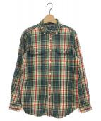POLO RALPH LAUREN(ポロラルフローレン)の古着「ダブルポケットチェックシャツ」|グリーン×レッド