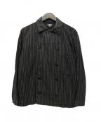 BLACK SIGN(ブラックサイン)の古着「Wabash Stripe Chef Coat」|ブラウン