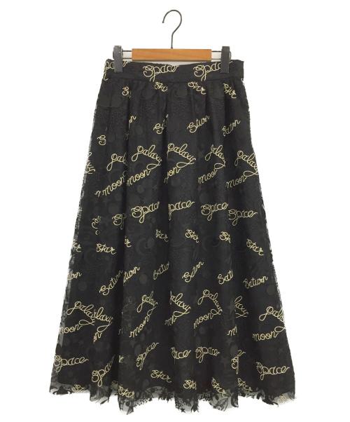 Diagram(ダイアグラム)Diagram (ダイアグラム) プラネット刺繍スカート ブラック サイズ:38の古着・服飾アイテム