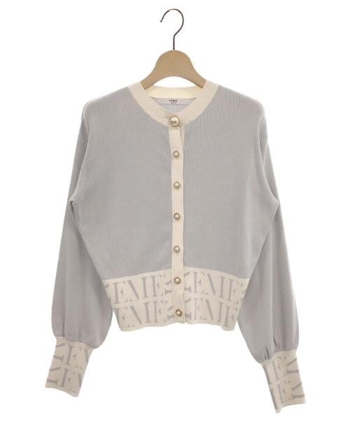 eimy istoire(エイミー イストワール)eimy istoire (エイミー イストワール) pearlモノグラムニットカーディガン グレー サイズ:Fの古着・服飾アイテム