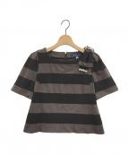 M'S GRACY(エムズグレイシー)の古着「ショルダーリボンボーダーカットソー」 ブラック×ブラウン