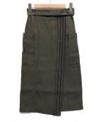 ()の古着「ペーパーベルテッドスカート」|カーキ