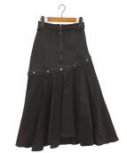 Ameri VINTAGE(アメリビンテージ)の古着「FLOWING LINE DENIM SKIRT」|ブラック
